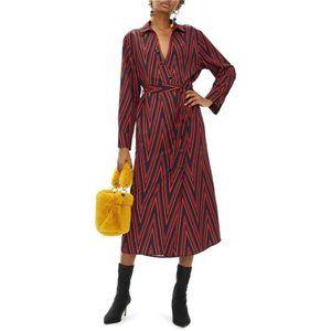 Topshop Midi Dress Print Horn Button Shirt Dress